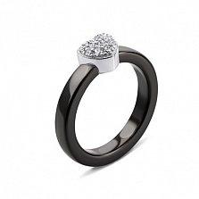Черное керамическое кольцо Сердечко с фианитами в родированном касте