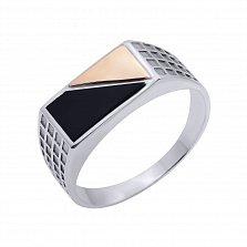 Серебряный перстень-печатка Гермес с золотой накладкой и ониксом