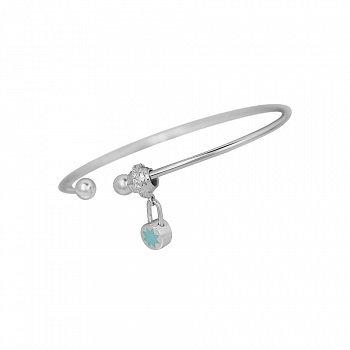 Серебряный литой браслет Круглый замочек на бусине с фианитами и голубой эмалью 000105862