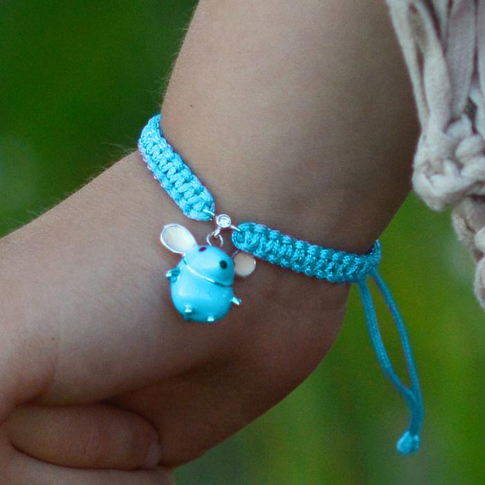 Детский плетеный браслет Голубая мышка с эмалью и фианитом, 10х20см 000080621