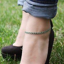 Серебряный браслет на ногу с чернением Мирена с зелёным фианитом