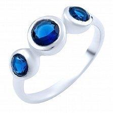 Серебряное кольцо Шайна с синтезированными сапфирами