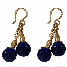 Золотые серьги-подвески Волшебный эликсир с синтезированной синей шпинелью