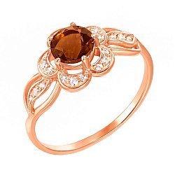 Кольцо из красного золота с раухтопазом и фианитами 000131283