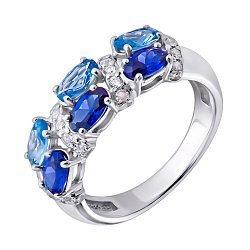 Серебряное кольцо с сапфирами, шпинелью и фианитами 000140756
