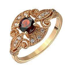 Кольцо из красного золота с гранатом и цирконием 000117195