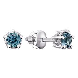 Серебряные серьги-пуссеты Карина с голубым кварцем, 7мм 000015323