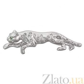Серебряная брошь Пантера 10130001