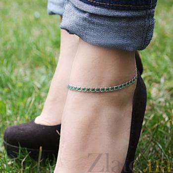 Серебряный браслет на ногу с чернением Мирена с зелёным фианитом 000044849