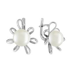 Серебряные серьги Сюзанна с белым жемчугом