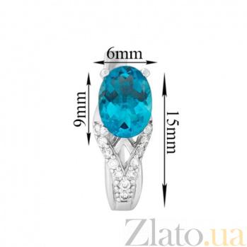 Серебряные серьги Тропикана с голубым кварцем и фианитами 2411/9р кварц гол