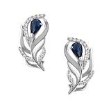 Серебряные серьги Волшебное перышко с синими и белыми фианитами