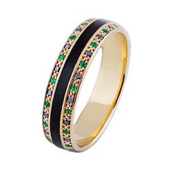 Золотое кольцо с изумрудами, бриллиантами и эмалью Сказка