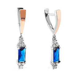 Серебряные серьги-подвески с золотыми вставками, синим алпанитом и фианитами 000082147
