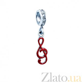 Серебряный шарм Скрипичный ключ с эмалью и фианитами AQA-236510005