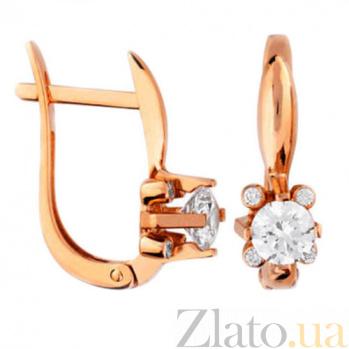 Золотые серьги с фианитами Алисия SUF--110395
