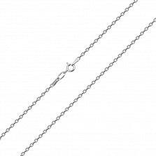 Серебряная родированная цепочка Олимпика в плетении форза, 2,5мм