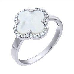 Кольцо из белого золота с перламутром и цирконием 000139439