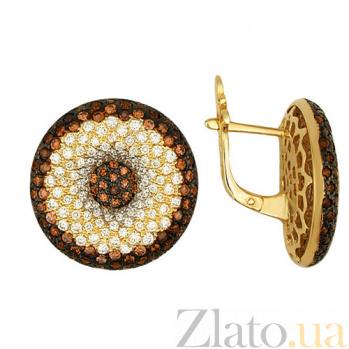 Серьги из желтого золота с цирконием Афина VLT--ТТ248-1
