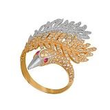 Кольцо из желтого и белого золота Лебединая нежность с фианитами