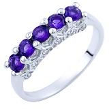 Серебряное кольцо Тришна с аметистами и фианитами
