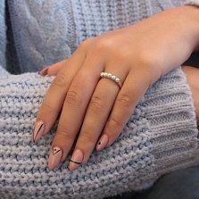 Серебряное кольцо Альянс с пятью белыми жемчужинками