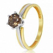 Золотое кольцо Делия в желтом цвете с раухтопазом
