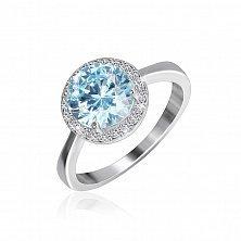 Серебряное кольцо Рашель с фианитом цвета голубого топаза