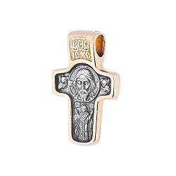 Серебряный крестик с позолотой и чернением Святой Николай 000034506