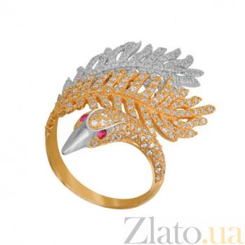 Кольцо из желтого и белого золота Лебединая нежность с фианитами VLT--ТТТ1268