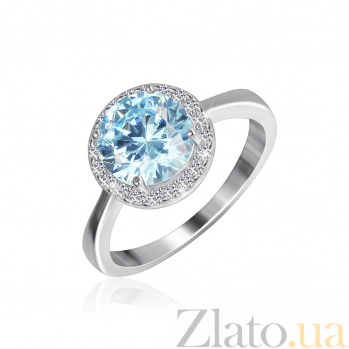 Серебряное кольцо Рашель с фианитом цвета голубого топаза 000025459