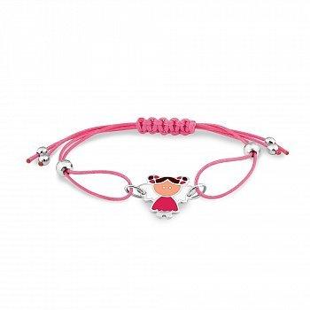 Рожевий шовковий дитячий браслет Дівчинка-ангел зі срібними елементами і різнокольоровою емаллю 000114347