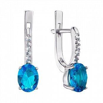 Серебряные серьги с голубым кварцем и фианитами 000064444
