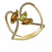Золотое кольцо Гудини в желтом цвете с цитрином, хризолитом и бриллиантами