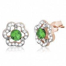 Серебряные сережки с зеленым фианитомTrefoil
