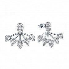 Серебряные серьги-джекеты Турция с кристаллами циркония