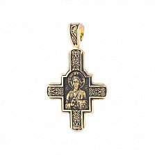 Золотой крест с иконами Господь Вседержитель и Великомученик Пантелеимон Целитель с чернением