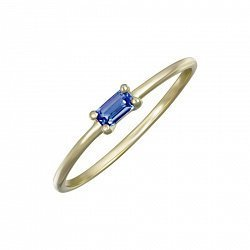 Кольцо в желтом золоте Тамила с синим сапфиром