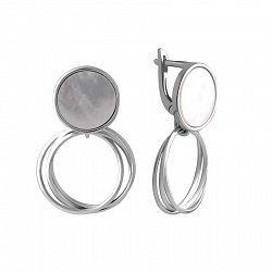 Серебряные серьги-подвески с перламутром 000144989