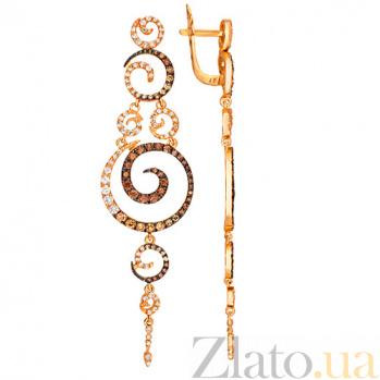 Золотые серьги с цирконием Юнона VLT--ТТТ2307-2