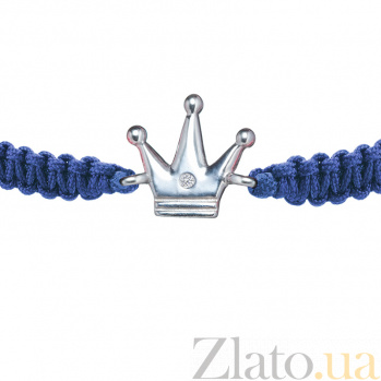 Детский плетеный браслет Принц с cеребряной вставкой и фианитом 10-10см 000080639
