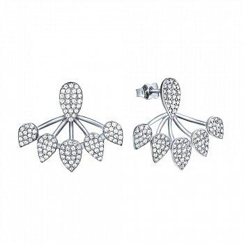 Серебряные серьги-джекеты с кристаллами циркония 000072527