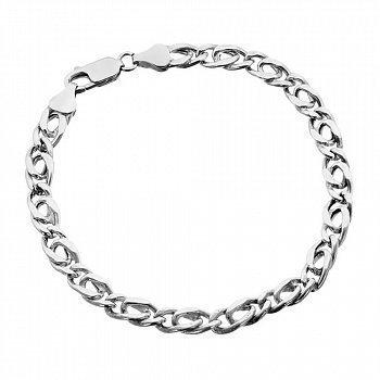 Серебряный браслет с объемными звеньями родированный, 5,5 мм 000027807