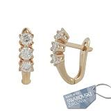 Золотые серьги с кристаллами Swarovski Велма