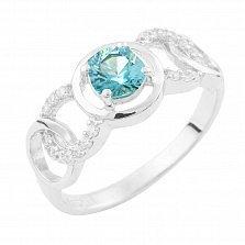 Серебряное кольцо Долорес с топазом лондон и фианитами