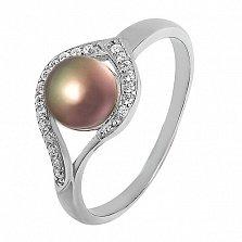Серебряное кольцо Мия с черным жемчугом и цирконием