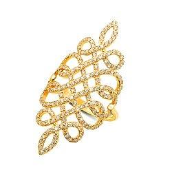 Золотое кольцо на всю фалангу Восточная сказка в желтом цвете с фианитами