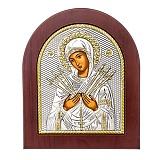 Икона Божьей Матери с серебром Семистрельная