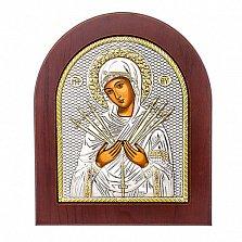 Икона Божьей Матери с серебром Семистрельная, 19х16см
