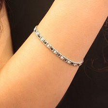 Серебряный браслет Мирена с чёрным и белым цирконием